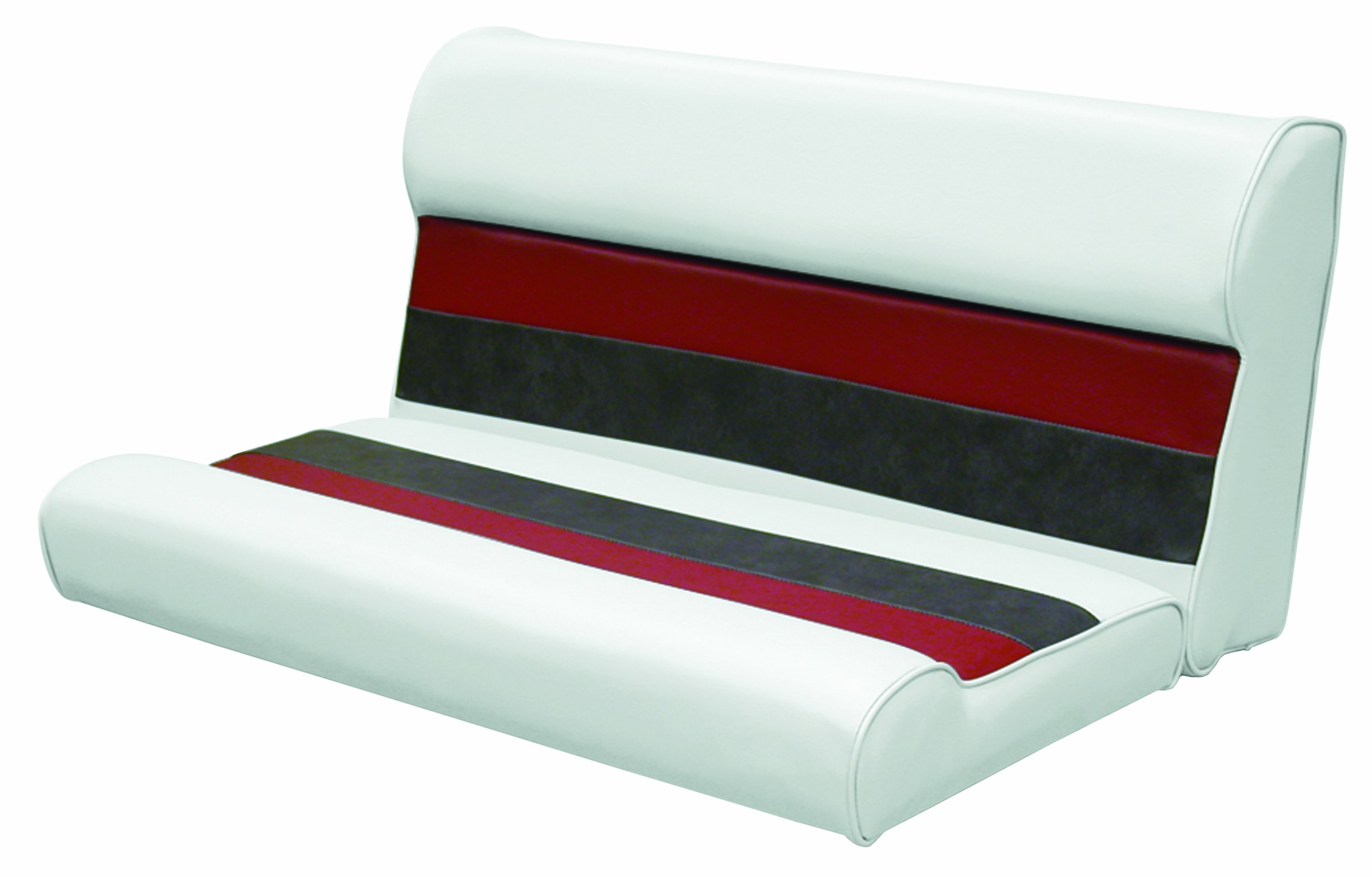Wise 36-Inch Pontoon Bench Seat Cushion (Base Required to Complete), White-Charcoal-Red