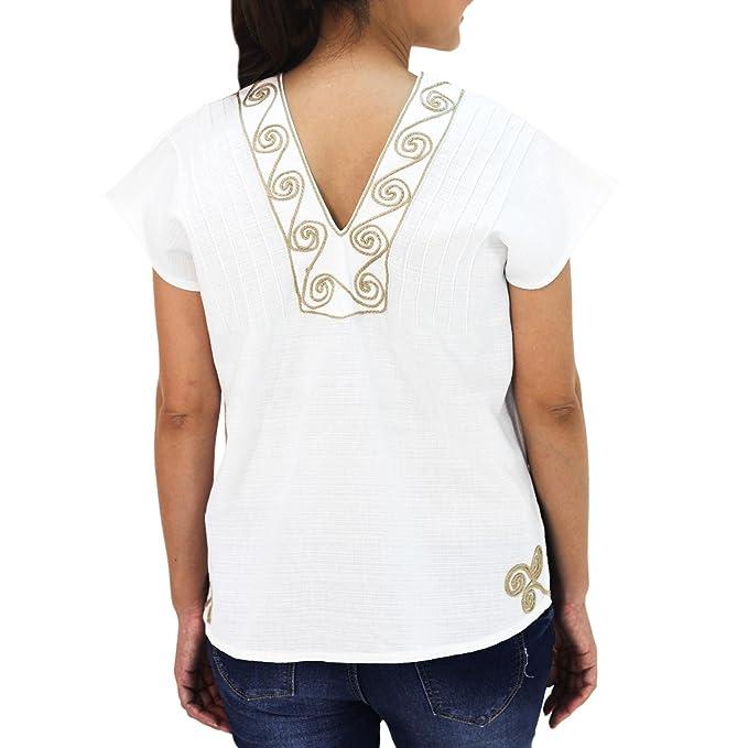 Amazon.com: Novica blanco y beige hecho a mano blusa de ...