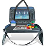 Car Seat Travel Tray and Messenger Bag 17 Inch by 12 Inch (Blue) | iPad & Tablet Holder, Removable Mesh Pockets, and Cup Holder For Kids | Kids Travel Tray | Great For Activity, Snacks, and Play