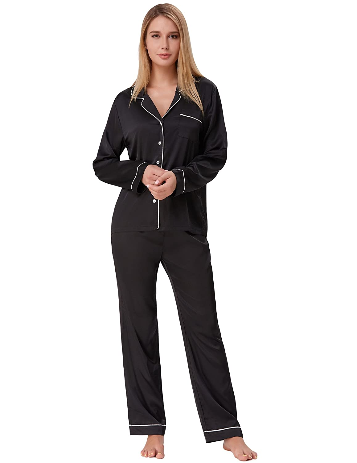 6831707d8 Silk Nightwear for Women Button Down Long Pajamas with Pants Black Size L  ZE52-1 at Amazon Women's Clothing store: