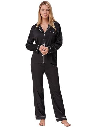 c40ddf9f53 Women s Long Pajamas Set Two Piece Button Down Nightwear Black Size S ZE52-1