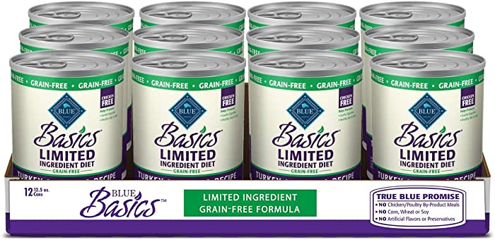 Blue Buffalo Basics Limited Ingredient Diet, Grain Free Natural Senior Wet Dog Food, Turkey 12.5-oz cans (Pack of 12)