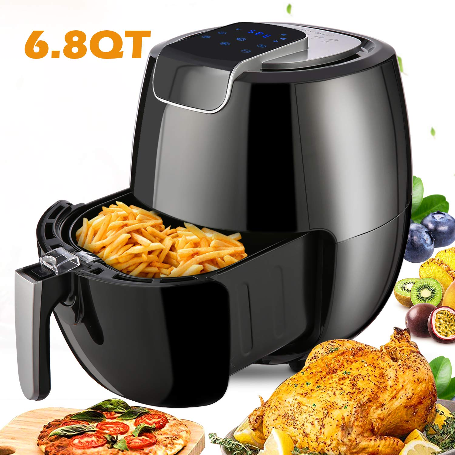 Air Fryer XL 6.8QT, 1800W Electric Hot Air Fryers Oven Oilless Cooker, LCD Digital Touchscreen, 8 Cooking Presets, Preheat & Nonstick Basket for Fast Healthier Fried Food by Hauture (Image #1)