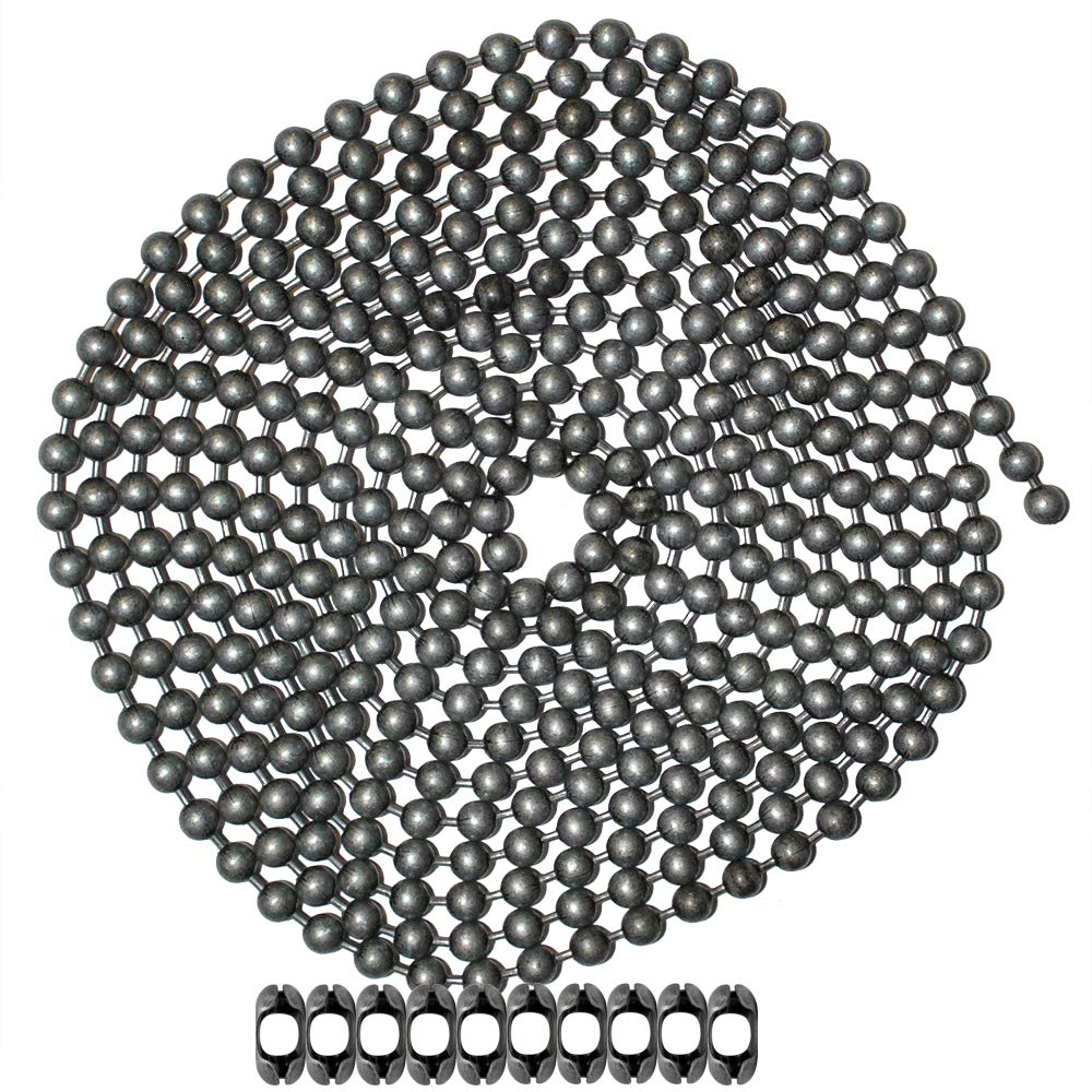 10 Foot Length Ball Chain, Number 10 Size, Dungeon Finish, 10 Matching B Couplings