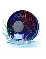 2nd Gen Hromen IPX7 Waterproof Bathroom Bluetooth Shower Speaker with FM Radio,Cool Cracking Backlit, Strong Adhesion Suction Cup