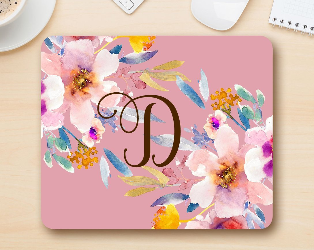 Monogram mousepad letter D - Floral Mouse Pad Computer Accessories Home Office Space Cubicle Decor