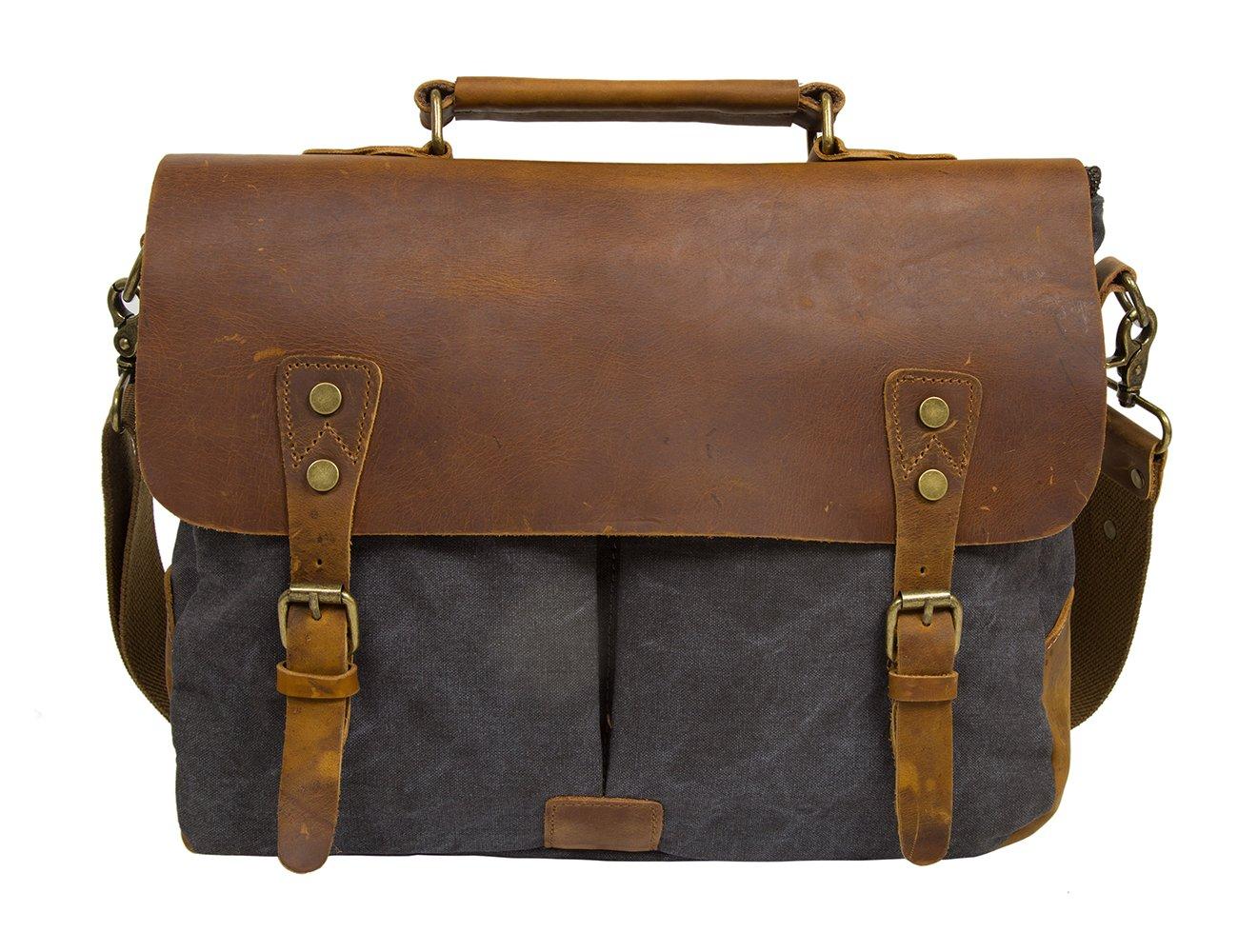 ECOSUSI Umhängetasche Herren Aktentasche Messenger Bag Canvas Schultertasche Leder Tasche Dunkelgrau Eco025013008-FDE