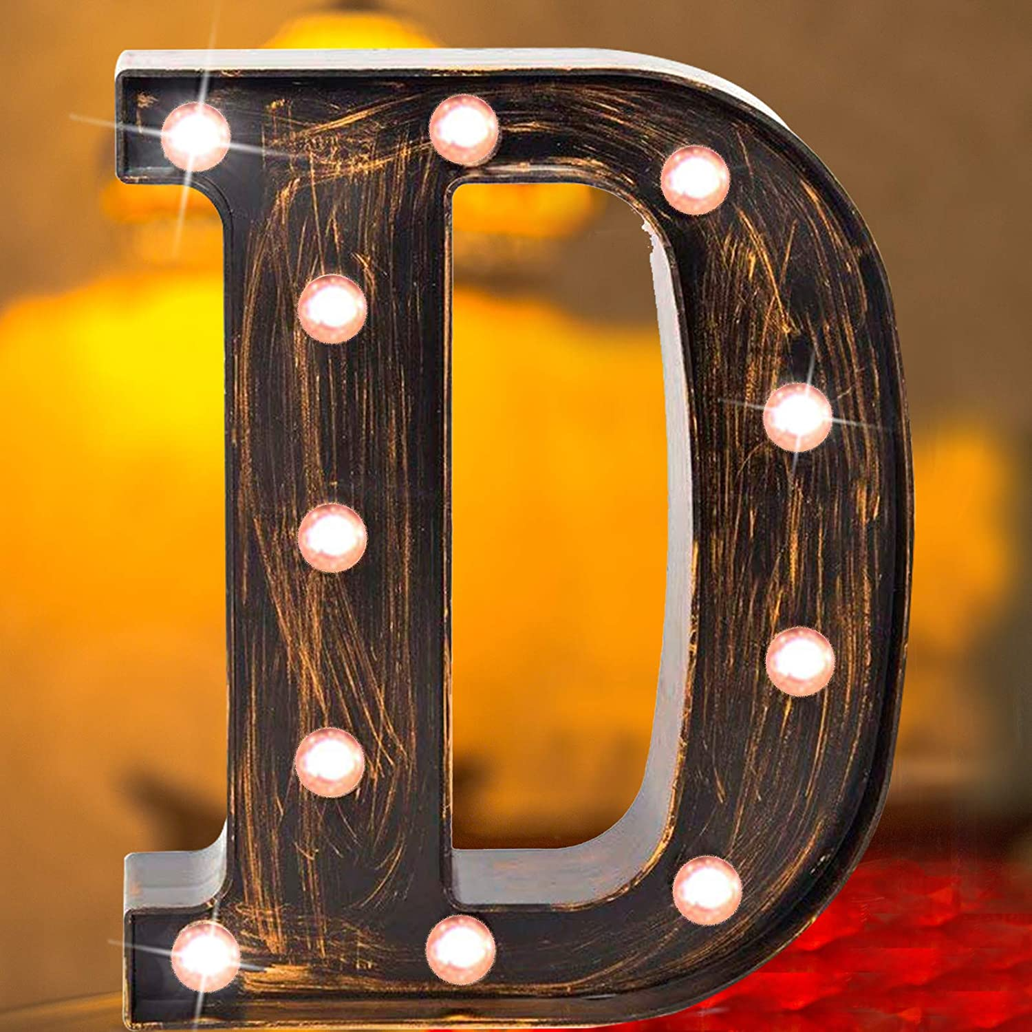 Elnsivo Vintage LED Marquee Letter Lights Light Up Industrial 26 Alphabet Rustic Letters Signs Bar Cafe Initials Decor for Birthday Party Christmas Wedding Events(Letter D)