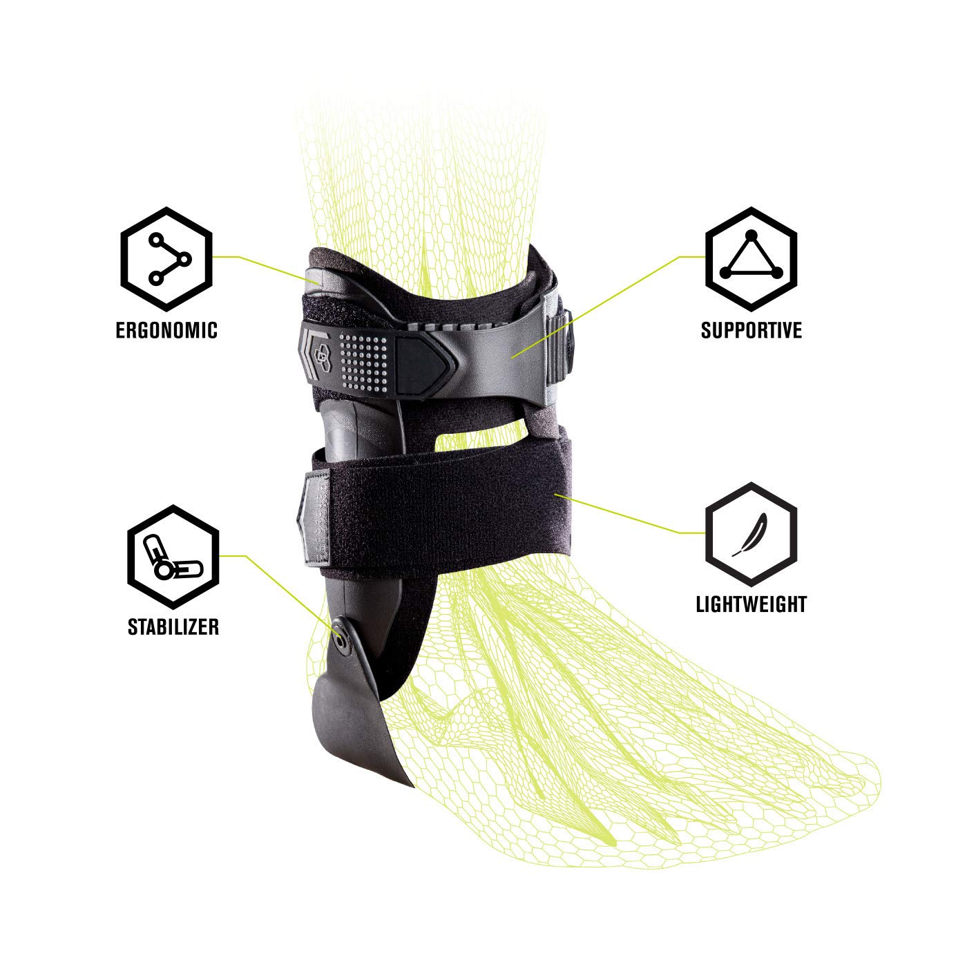 DonJoy Performance Bionic Stirrup Ankle Braces (Right and Left Pair), Maximum Medial Lateral Ankle Support, Low-Profile Rigid Brace, Adjustable - Black, Medium - Value Bundle by DonJoy Performance (Image #6)