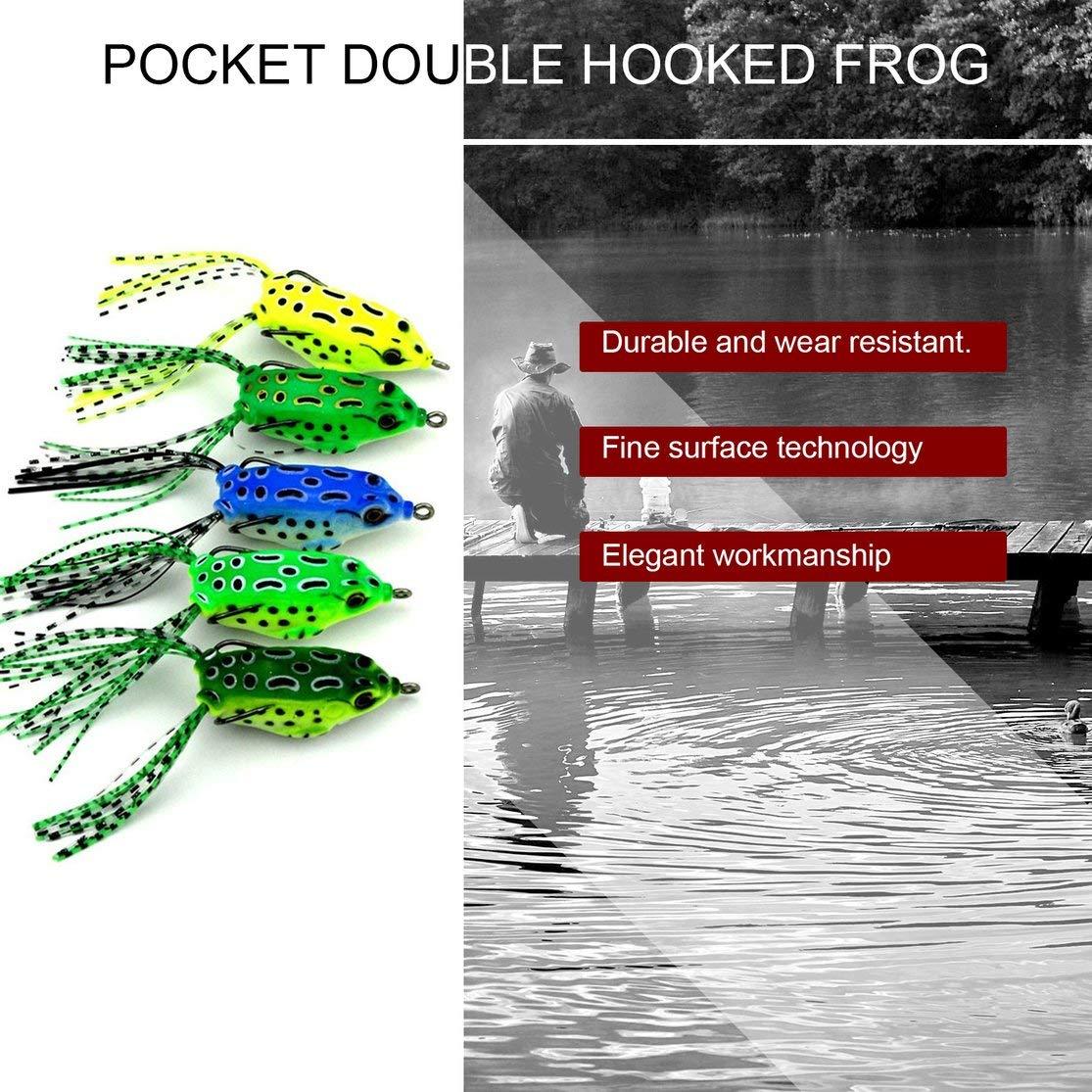 5 PZ Dual Hooks Frog Baits 5.5CM Soft Mini Esche da Pesca Portable Crankbaits Ganci in Metallo Topwater Esche Attrezzatura da Pesca