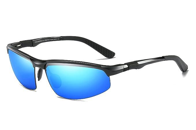 WHCREAT Gafas De Sol Polarizadas De Conducción Para Hombres Gafas De Deporte Al Aire Libre Marco Irrompible AL-MG - Negro Marco Azul Lente: Amazon.es: Ropa ...