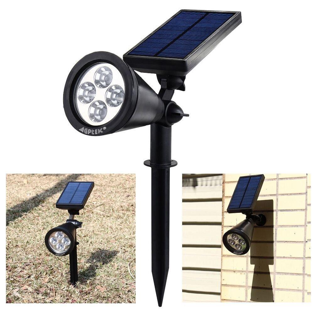 AGPtEK Waterproof 200 Lumens Solar LED Spotlight for Garden, Yard, Garden, Home, Driveway, Outside Wall