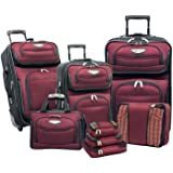 Travel Select Amsterdam Expandable Rolling Upright Luggage, Burgundy, 8-Piece Set