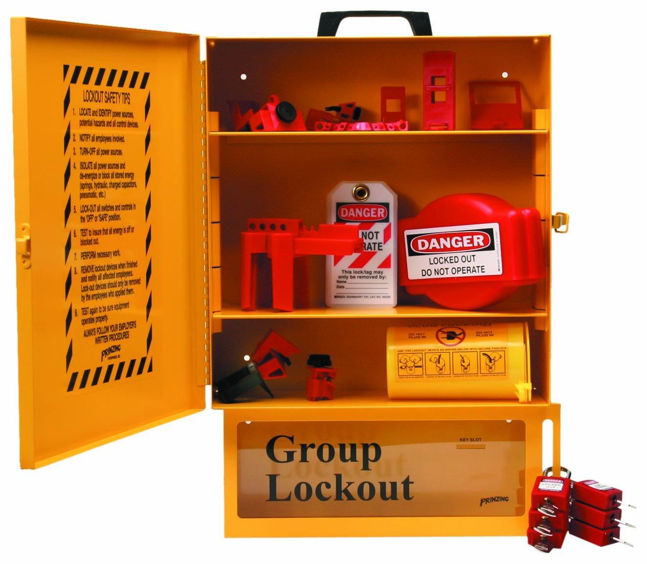 Brady Combined Lockout And Lock Box Station, Legend ''Safety Lockout Center'', Includes 6 Safety Padlocks , Yellow - 99709 by Brady