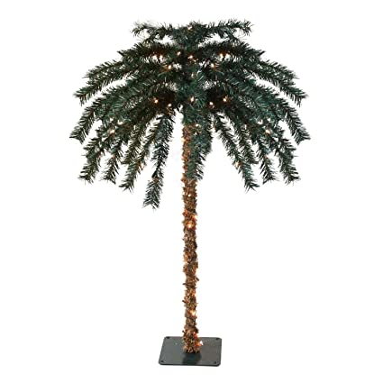 Attrayant Northlight 4.5u0027 Pre Lit Tropical Outdoor Summer Patio Artificial Palm Tree    Clear Lights