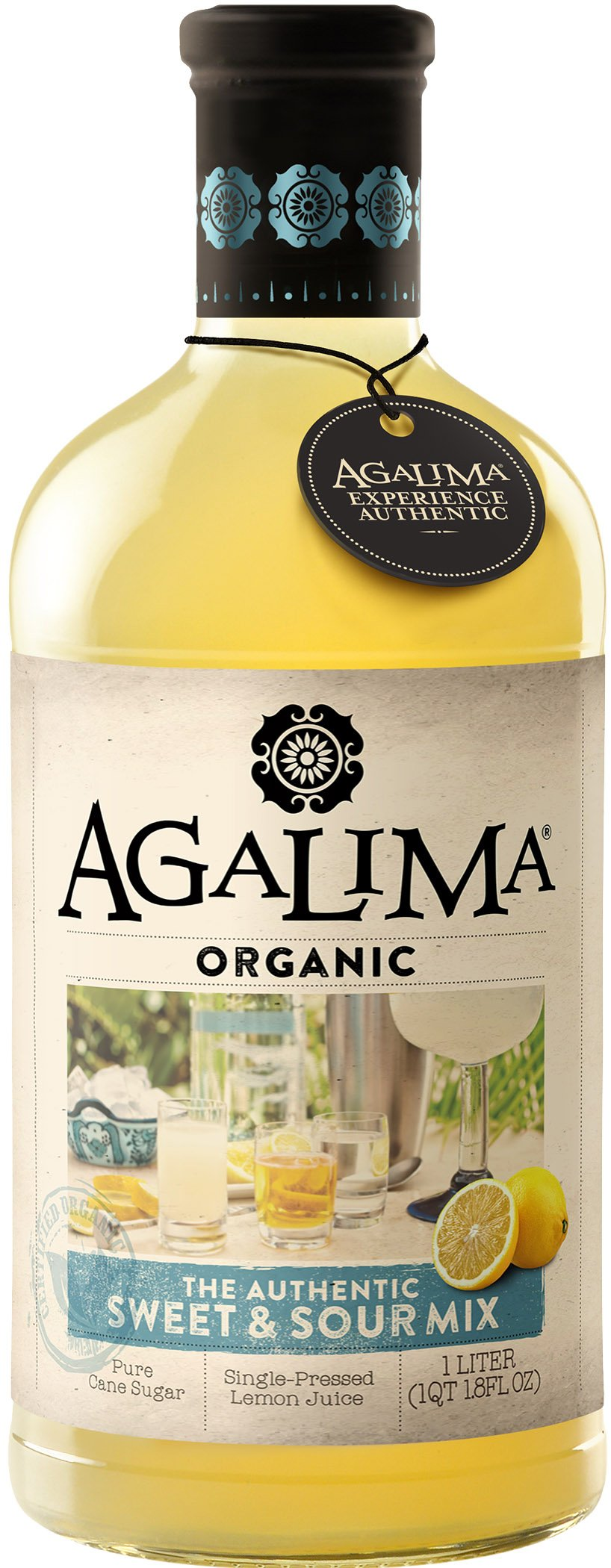 Agalima Organic Authenic Sweet & Sour Drink Mix, All Natural, 1 Liter (33.8 Fl Oz) Glass Bottle, Individually Boxed