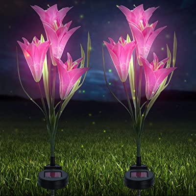 Sorbus LED Flower Light Lily Stakes, 2 Pack Solar Multi-color Changing 8 LED Outdoor Garden Flowers, for Lawn, Garden, Patio, Night Lighting, Path Walkway, Gravestones, Wedding (2 Pink Color Changing)