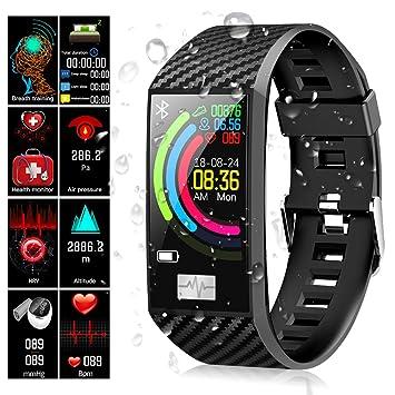 Qimaoo Montre Connectée Homme Femmes, Montre Sport GPS Fitness Tracker dActivité Bracelet avec Podomètre Moniteur de Fréquence Cardiaque IP68 ...