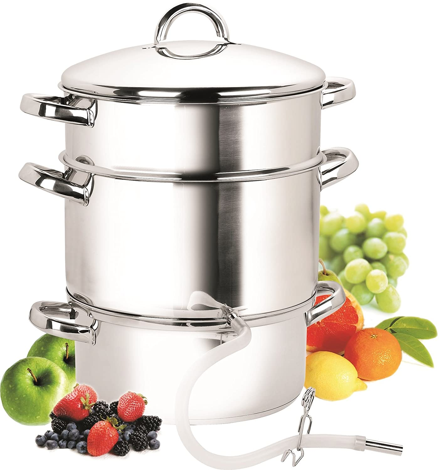 Cook N Home NC-00256 28cm 11-Quart Stainless Steel Fruit Juicer Steamer Multipot Silver