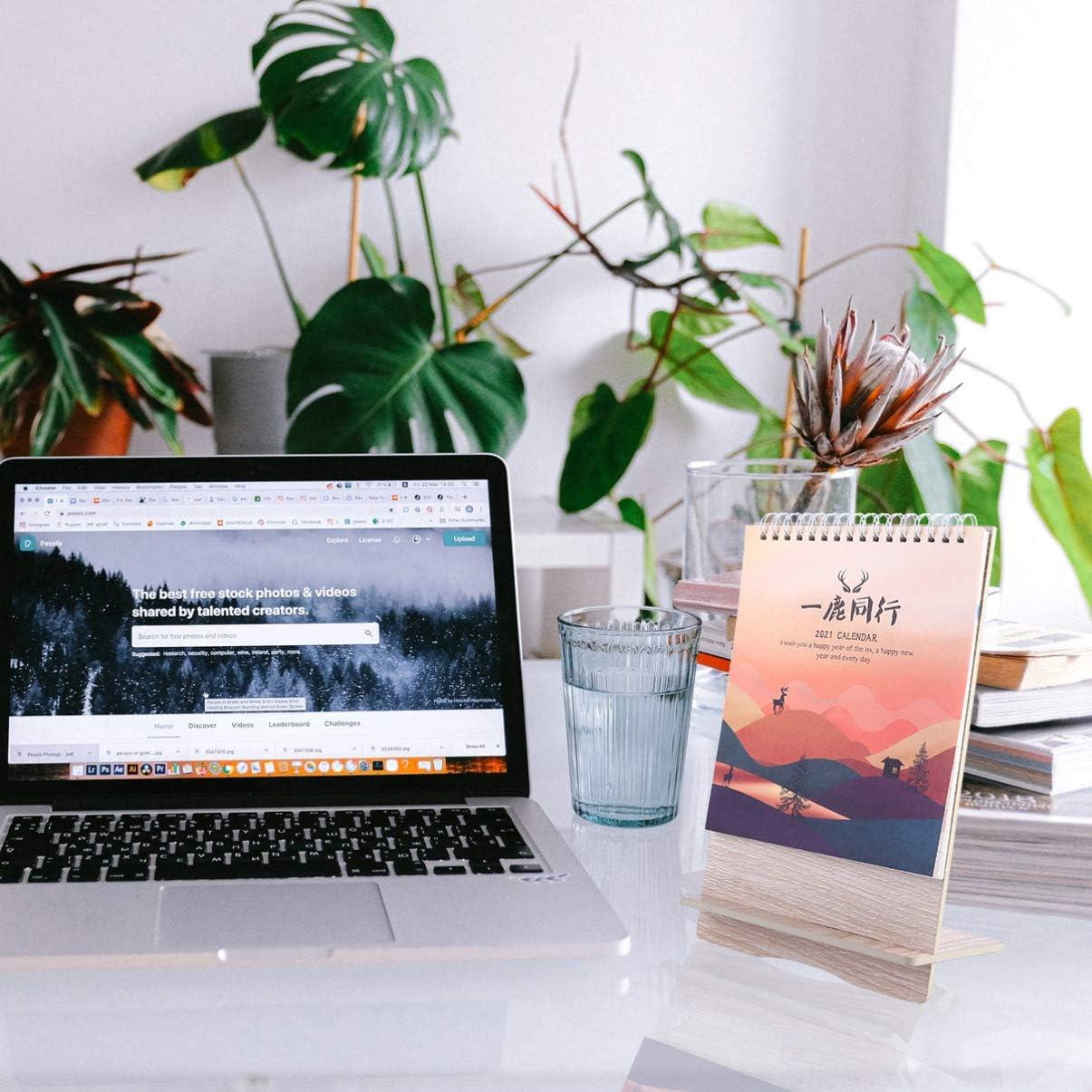 TOYANDONA Calendario da Tavolo 2021 Calendario da Tavolo Piccolo con Base in Legno Flip Calendario Mensile Calendario Giornaliero Planner Centrotavola da Tavolo per Ufficio da Casa