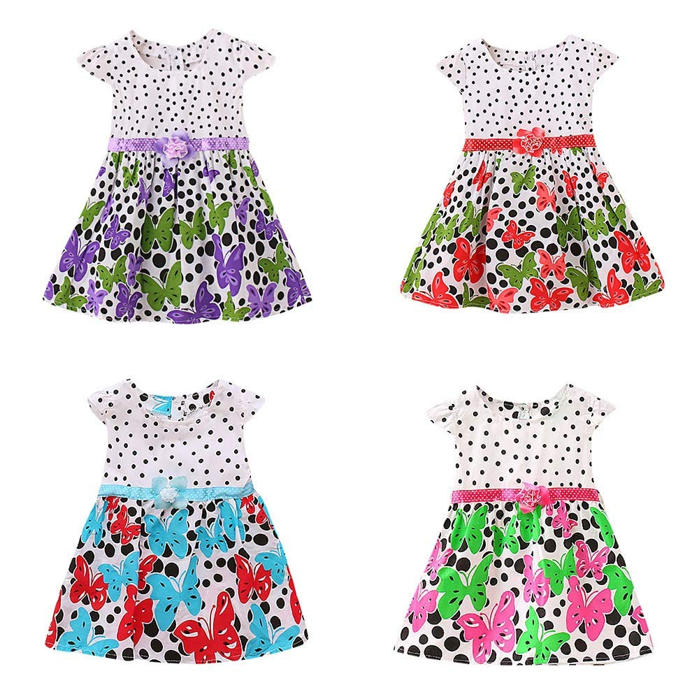 Newborn Toddler Baby Girls Dot Butterfly Print Flower CasualDress Clothes Purple by SERYU (Image #5)