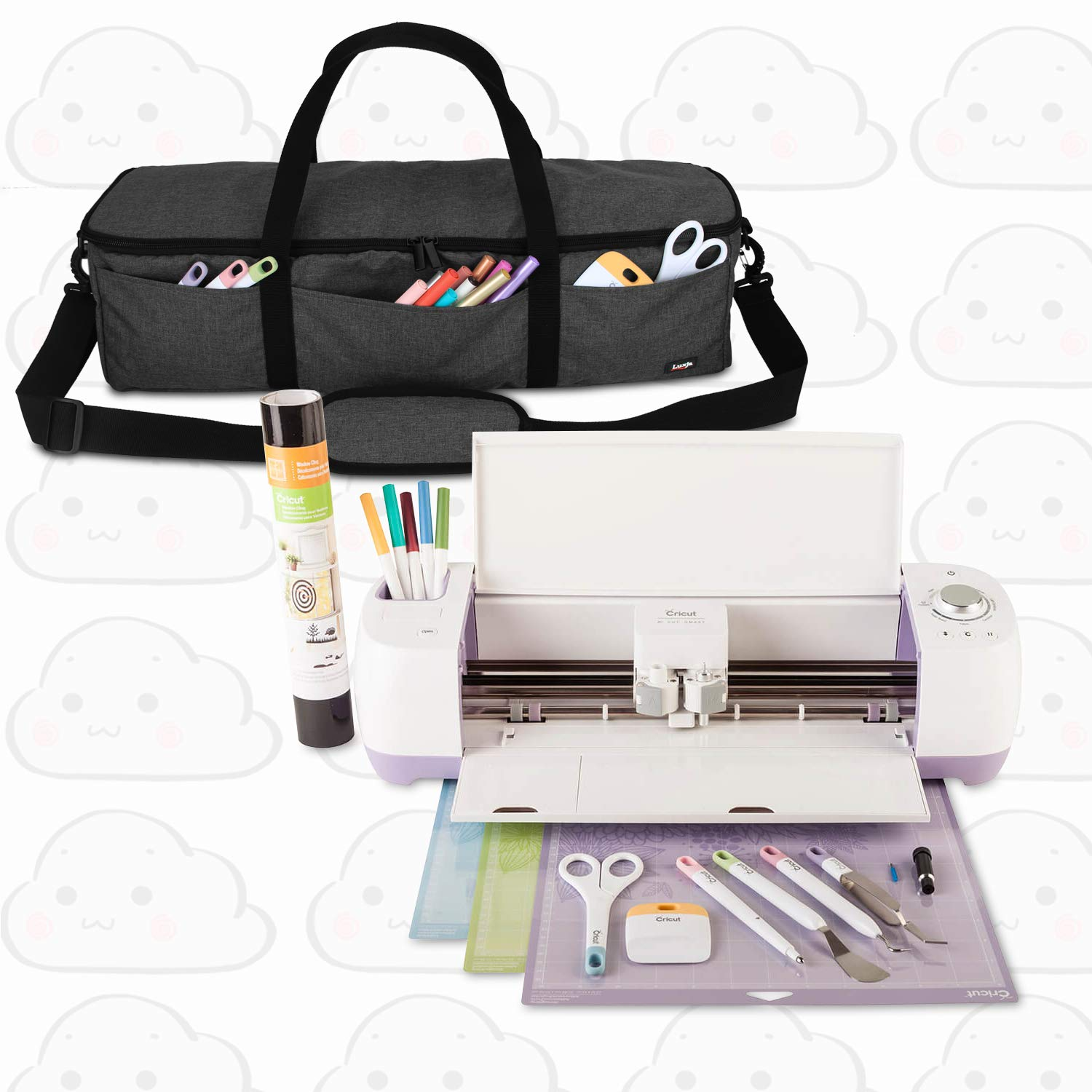 B07N7YS9BS Luxja Foldable Bag Compatible with Cricut Explore Air and Maker, Carrying Bag Compatible with Cricut Explore Air and Supplies (Bag Only), Black 71g47gVQulL