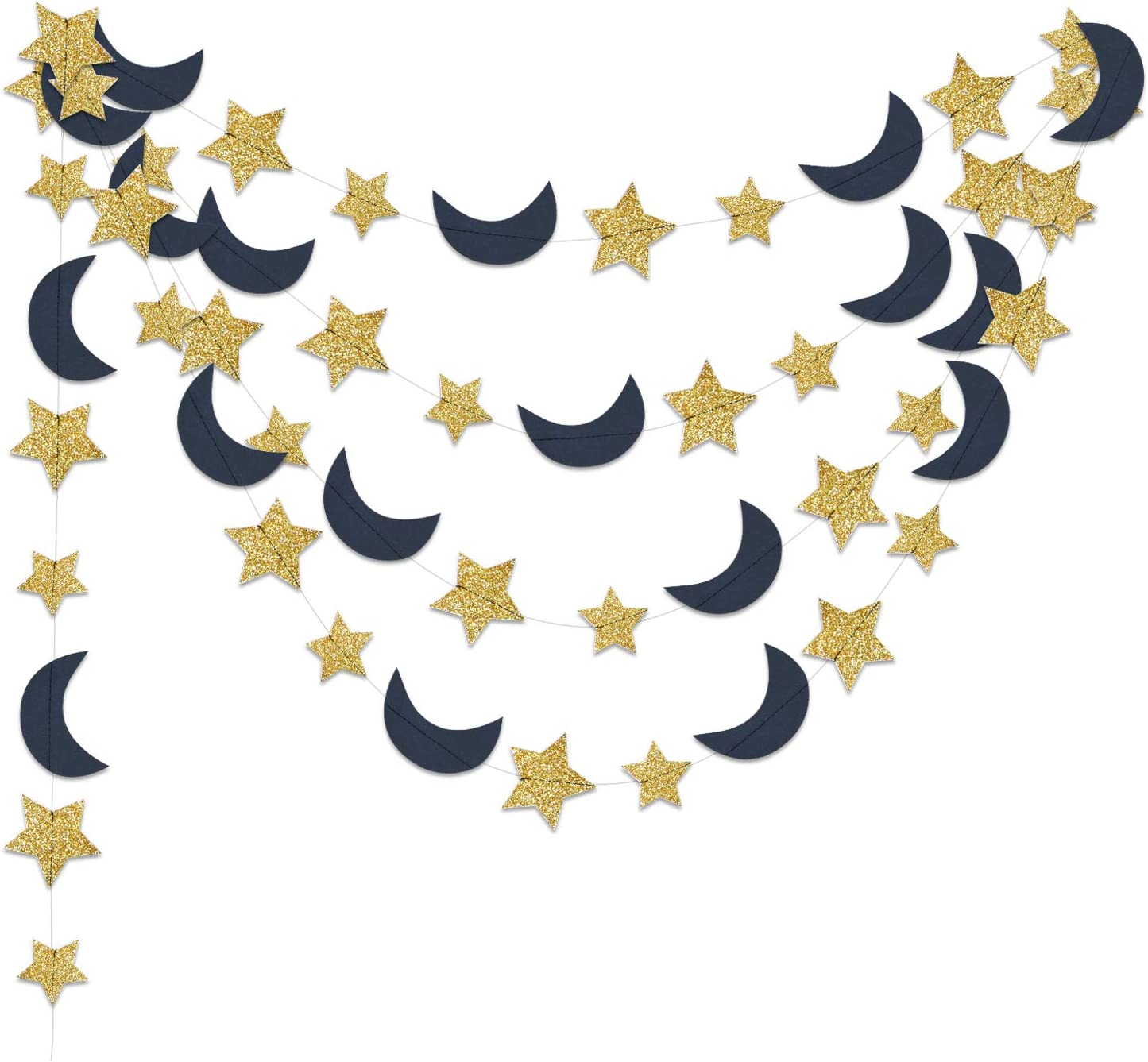 Furuix Outer Space Birthday Party Decorations Navy Gold 2pcs Moon and Star Garlands 1st Birthday Garland Love You to The Moon and Back Navy Blue Gold Moon Star Baby Shower Decorations (Navy Gold)