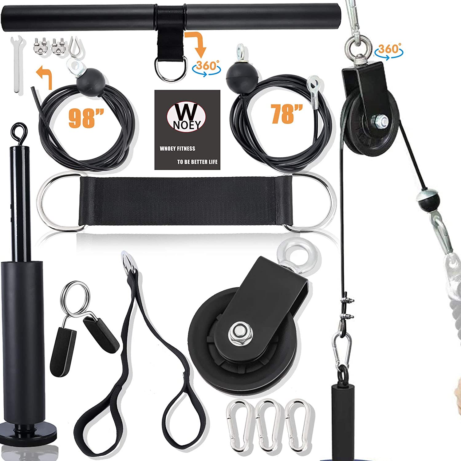 WNOEY Pulley System Gym, LAT Pulldown Attachments, Gym Equipment for Home, Cable Attachments for Gym, Cable Pulley Attachments for Gym, Home Gym Equipment