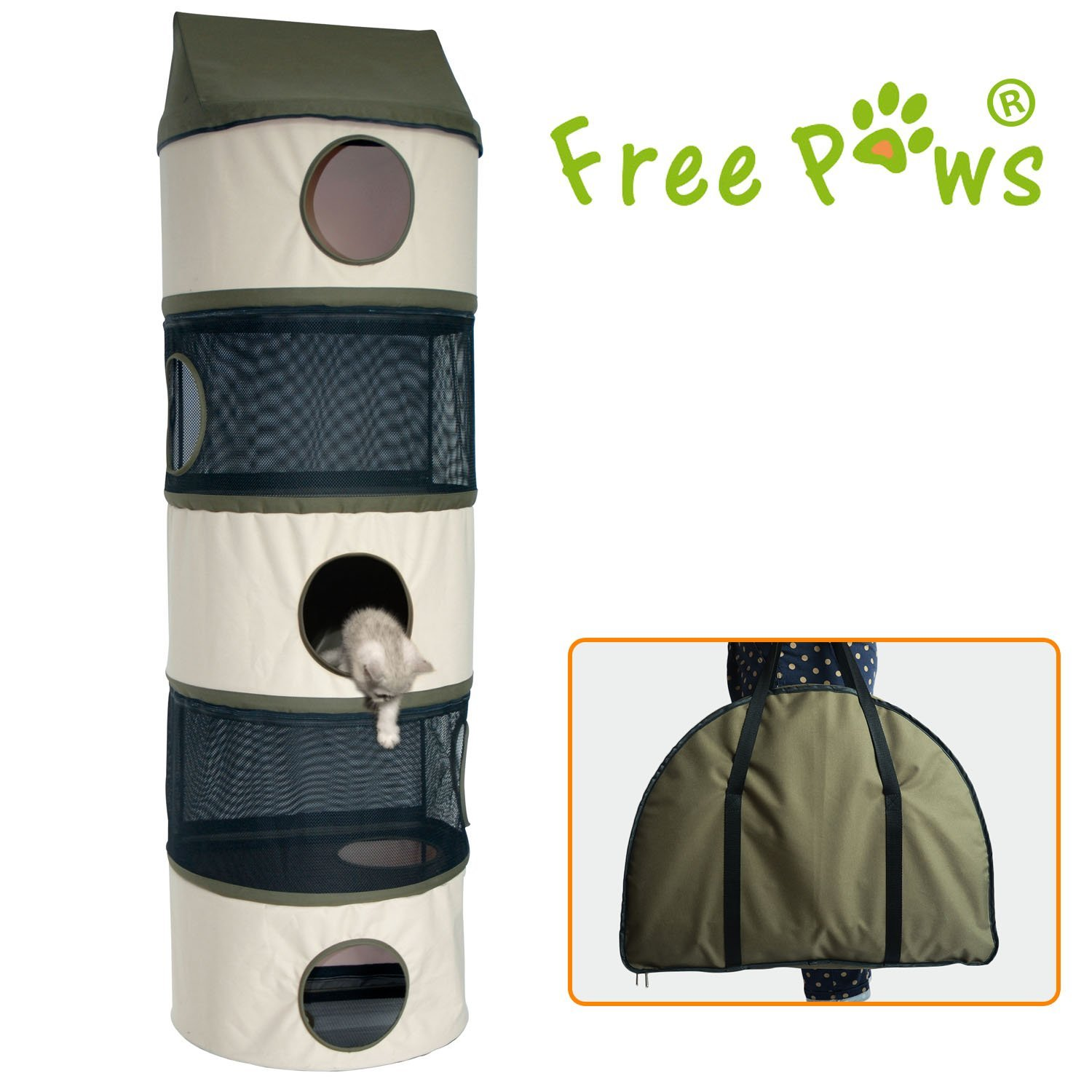 """Free Paws 70LBS Weight Capacity Hangin Hunter Oxford Cat Condo, Large 5-Storey With Breathable Net & Cosy Fleece & Carrying Bag (76"""" CC001)"""