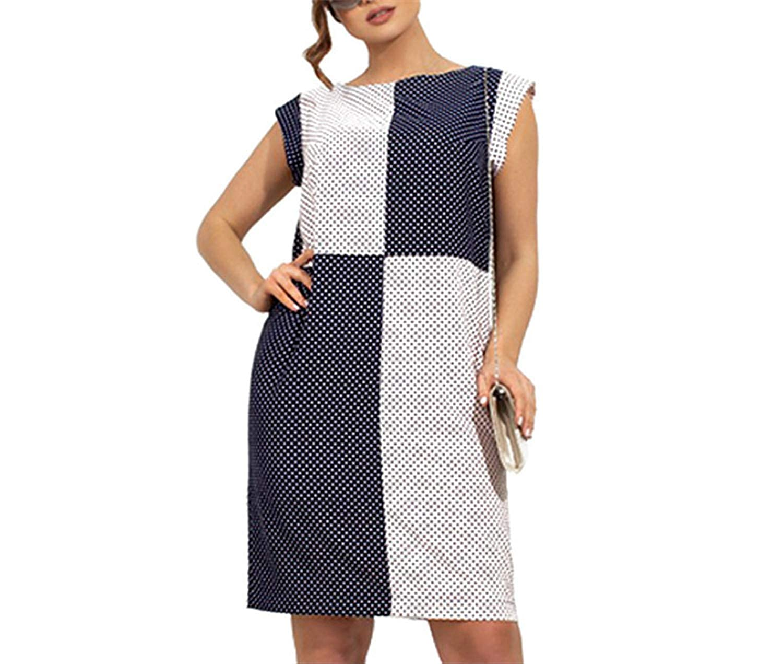 Leo Lamb lady tops 5XL 6XL Fashion Summer Plus Size Dress Large Size Women Polka Dot Casual Sleeveless Patchwork