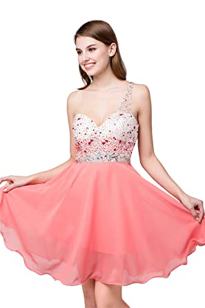 Defeina Coral Chiffon One Shoulder Beaded Crystal Party Dresses Plus
