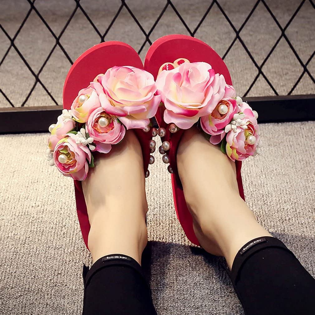 Womens Bohemian Floral Wedge Thong Sandals Man-Made Pearl Platform Beach Flip Flops Fashion Wear