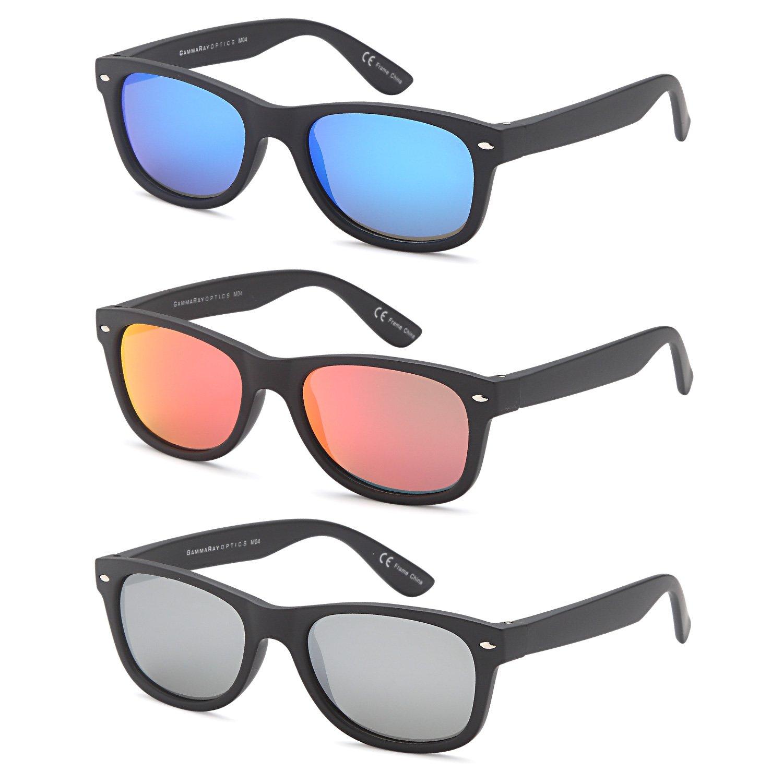 GAMMA RAY 3 Pairs Polarized UV400 Classic Mirror Sunglasses Small - Matte Black