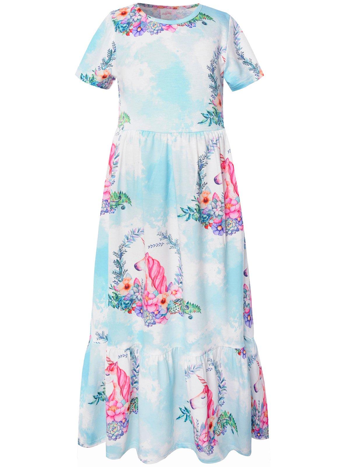 Bonny Billy Girls Dresses Summer Holiday Long Maxi Dress Size 7-8 Green