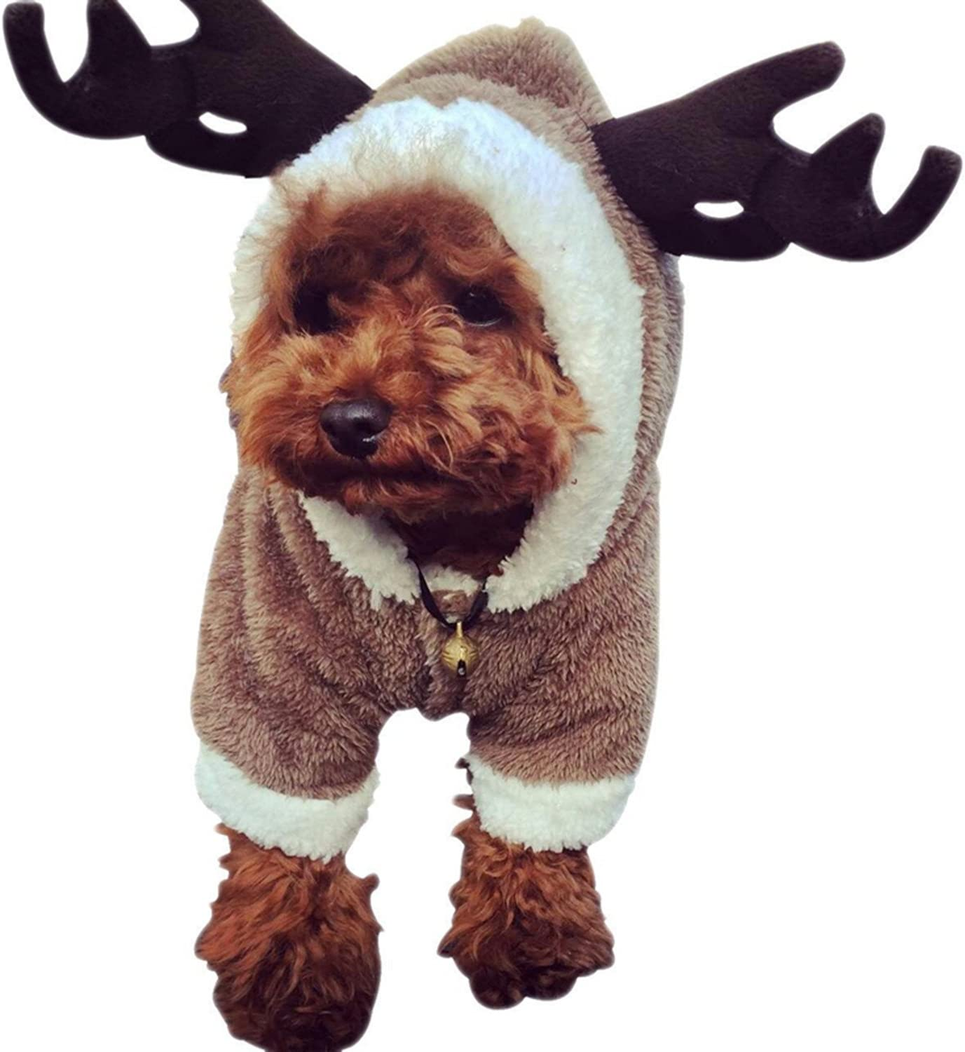 DWE Christmas Dog Outfits, Reindeer Deer Elk Design Dog Clothes Pet Costume  Puppy Outwear Coat For Teddy Chihuahua Yorkshire Terrier (XS)
