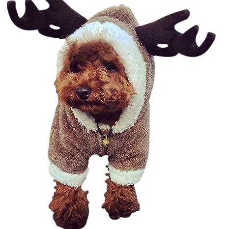 DWE - Disfraz de reno para perro, diseño de ciervo con alce de Navidad,