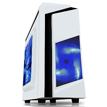 CiT, Carcasa de computadora F3 Midi para Gaming, con Ventilador de 12 cm con luz LED Verde, Color Negro Blanco