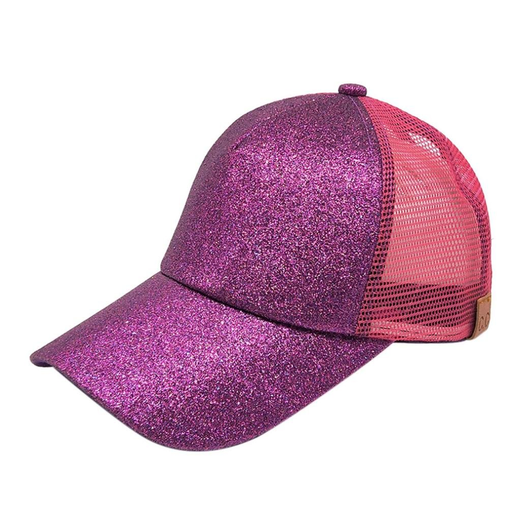 Sinfu® 2018 Women Ponytail Baseball Cap Sequins Shiny Messy Bun Snapback Hat Sun Caps A)