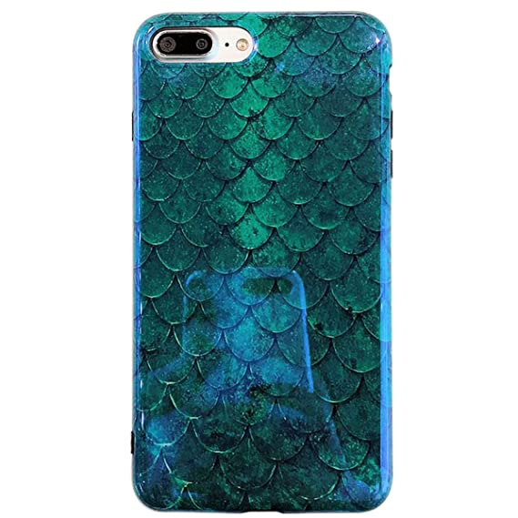 timeless design 20a6c 0250a Mermaid iPhone 6 Plus Case, iPhone 6s Plus Case, Easeu [Emerald Green Fish  Scale] [Blue Ray ]Reflective Shiny Cover [Super Slim] Silicone Girl's Phone  ...