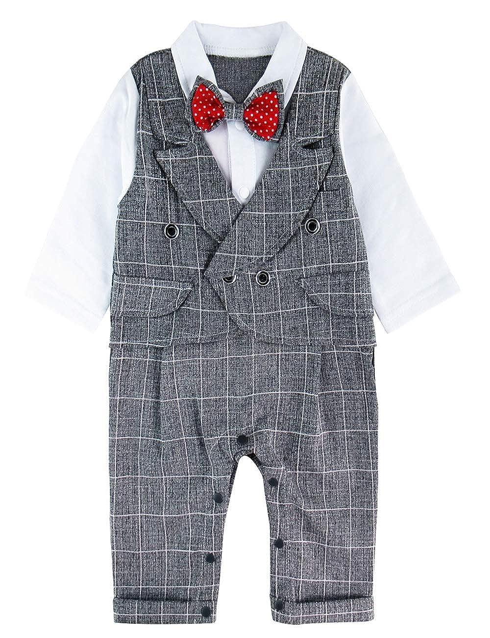 A& J Design Neonati Ragazzo Gentiluomo Pagliaccetto con Bowknot per Nozze Battesimo Outfit