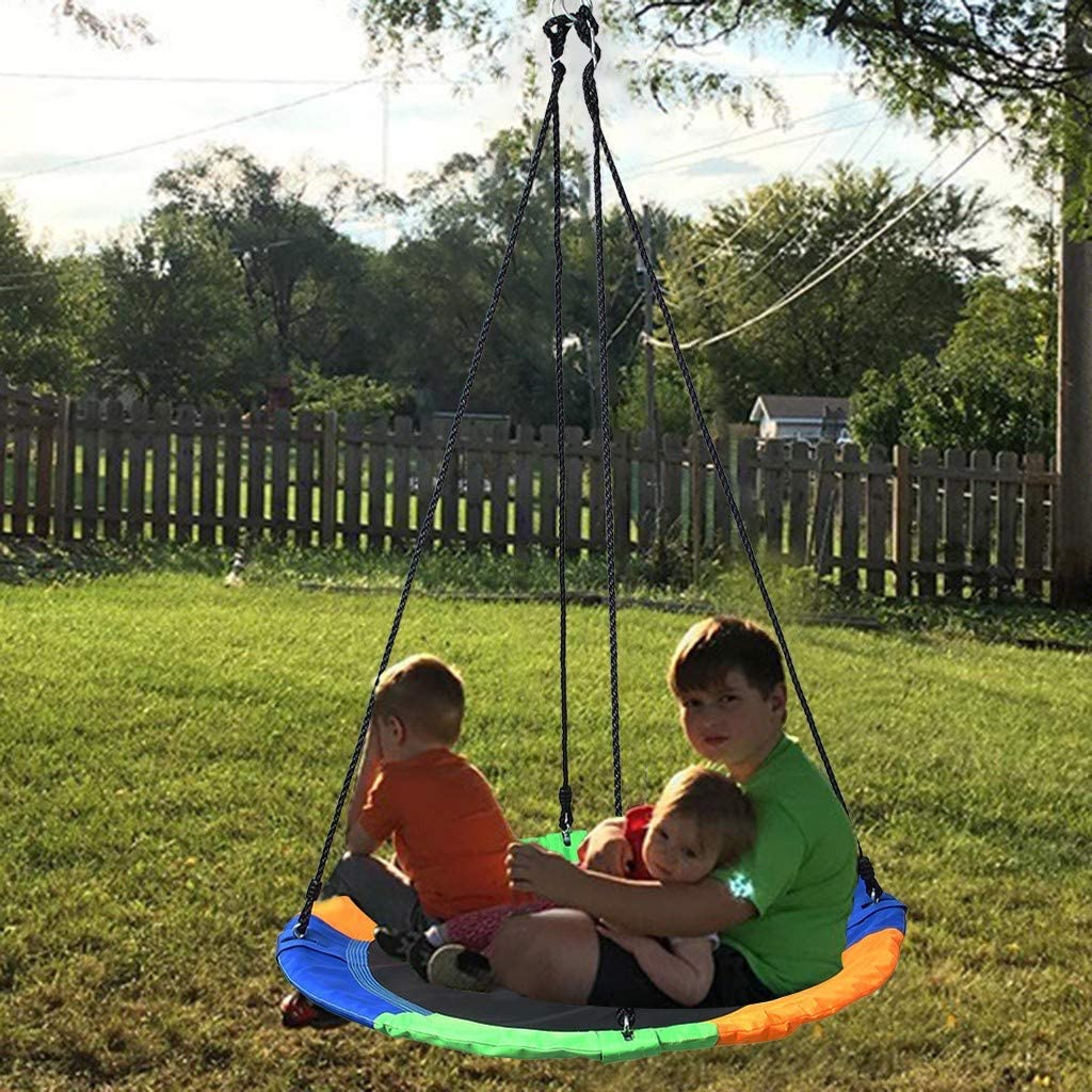 AS Shown Chezaa Web Tree Swing Net Swing Platform Set Detachable Nylon Adjustable Strap Ropes 40Colorful Extra Safe Durable Fun for Kids Adults Toddles Outdoor Backyard Accessories Ship from USA
