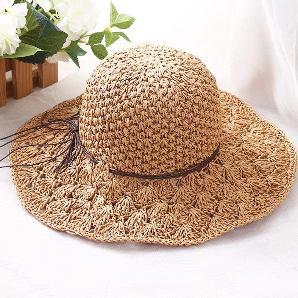 cherrysong Wide Brim Sun Hat Diameter:56-58cm Floppy Beach Hat,Hand Made Summer Protection Beach Hat with Breathable Mesh Crown,Floppy Summer Sun Beach Straw Hat,Foldable Wide Brim Adjustable