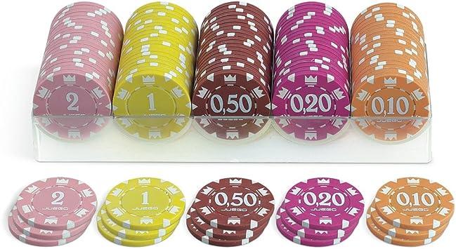 Juego - 100 Fichas de Póker valoradas, 14 gr. En Caja Logo: Amazon ...