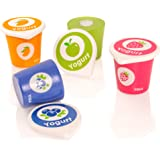 Viga Set of 4 Wooden Yoghurt Pots & Lid - Childrens Pretend Play Food Kitchen Toy