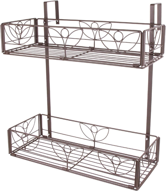 AmnoAmno 2-Tier Balcony Hanging Flower Rack Stand Rail Planters Baskets Pots for Outside, Deck Railing Planters Boxes Outdoor Hanger Stand with Strong Metal Folding Design Easy Installation (Bronze) : Garden & Outdoor