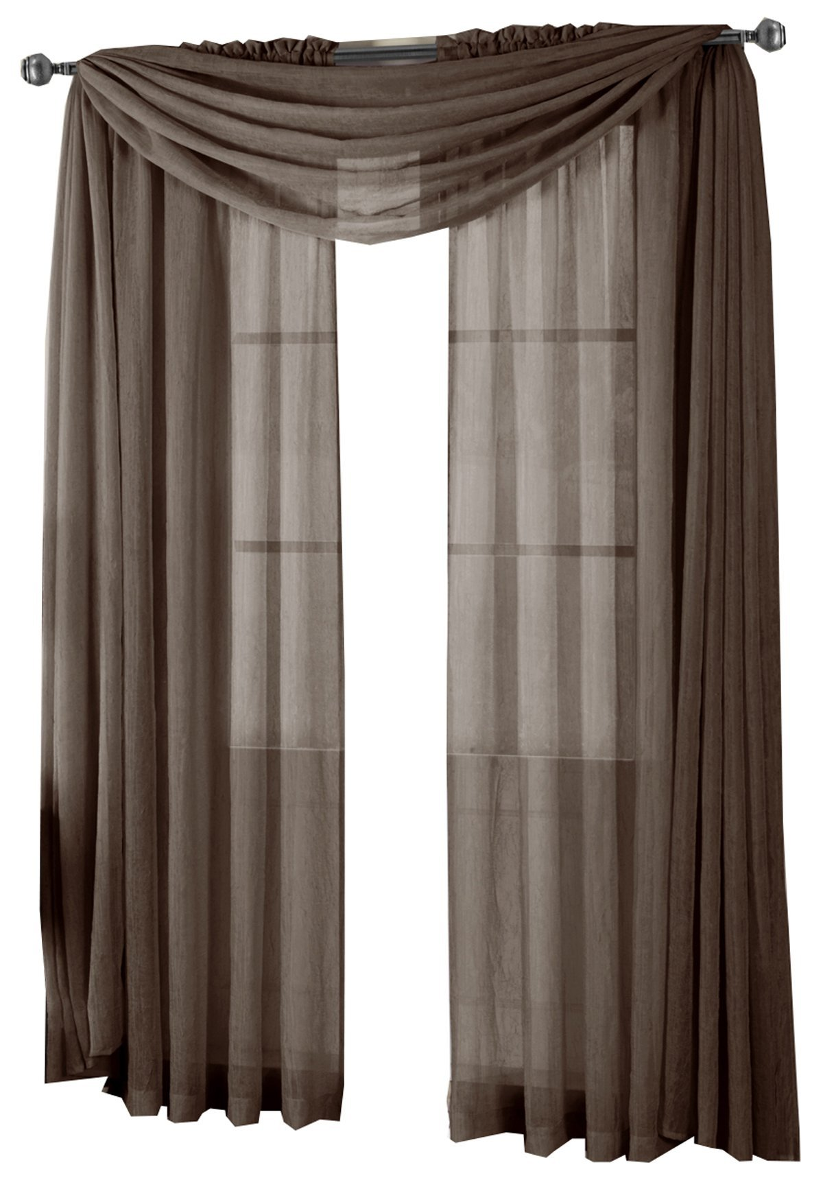 Abri Chocolate-Brown Crushed Sheer Scarf , 50x216 inches, by Royal Hotel