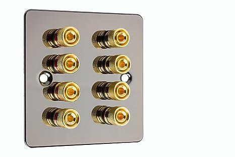 4.0 - Altavoz de sonido envolvente de níquel negro con placa de pared plana y postes