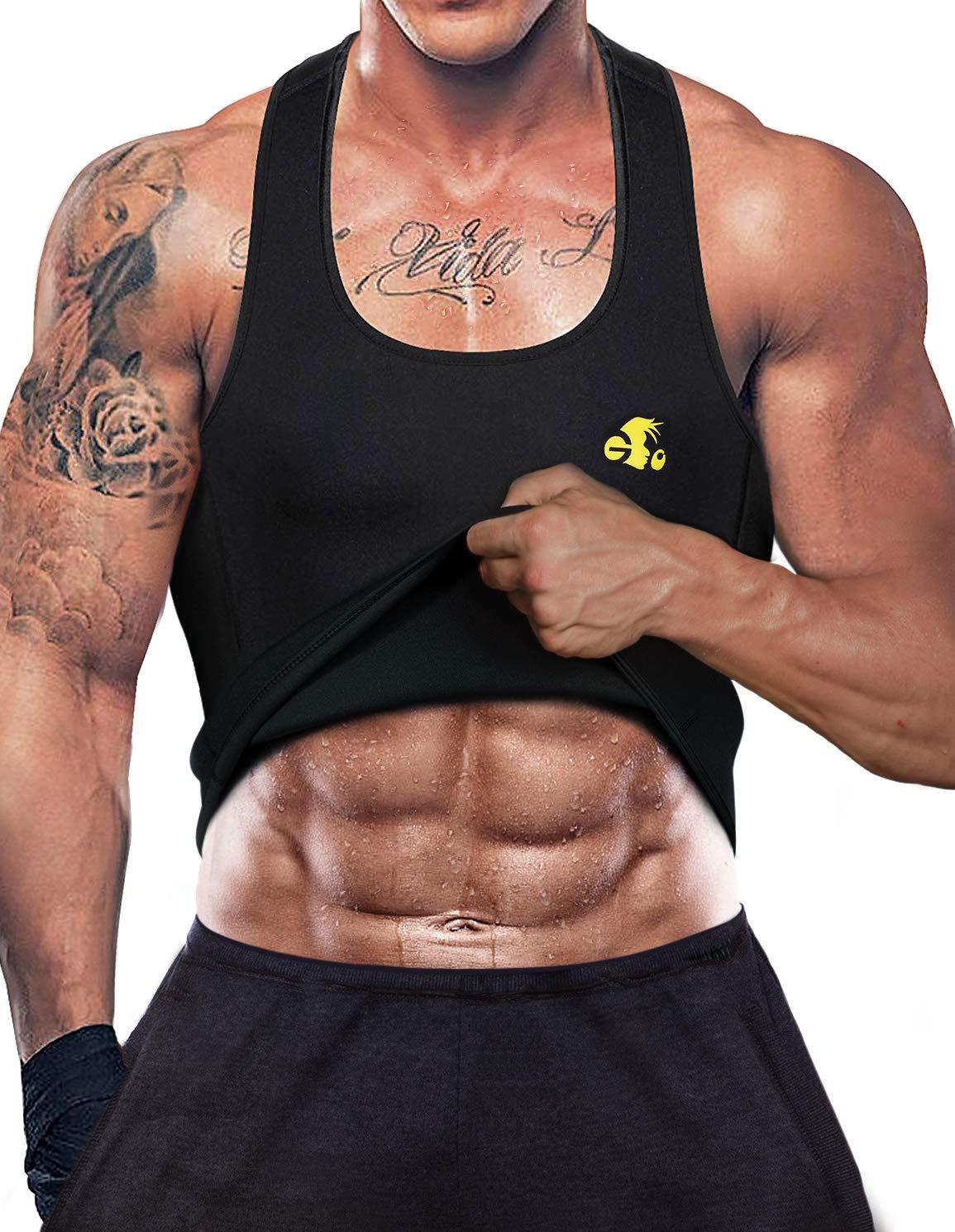 DoLoveY Men Hot Sweat Vest Neoprene Sauna Slimming Suit Weight Loss Tank Top Waist Trainer Shirt
