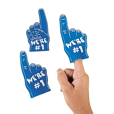 Blue Mini We're Number One Foam Spirit Fingers (Set of 12): Toys & Games