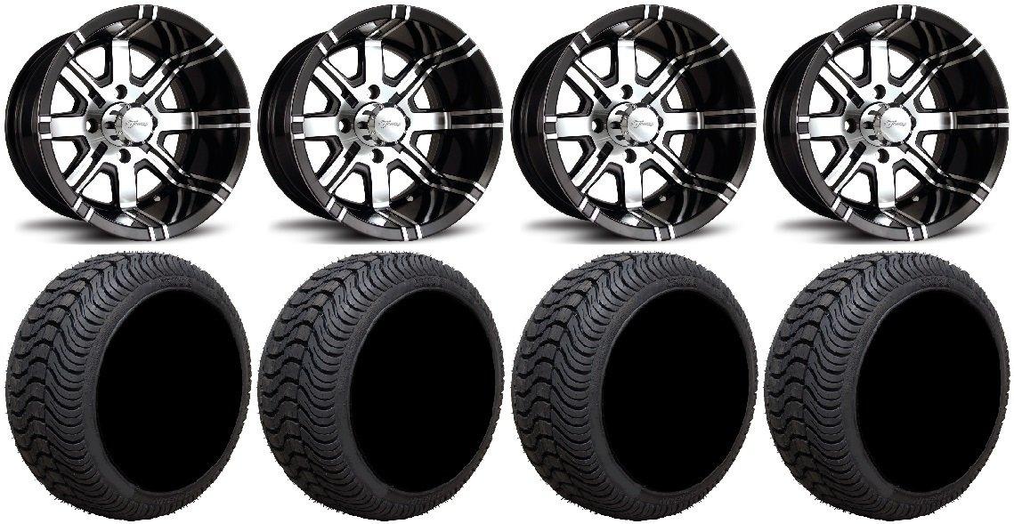 Bundle - 9 Items: Fairway Alloys Aggressor Wheels 12'' 215x50-12 Cruze Tires [for E-Z-GO & Club CarGolf Carts]